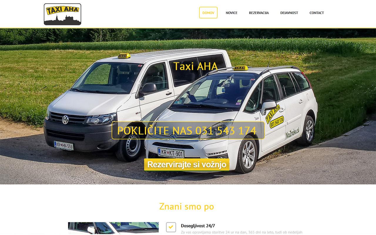 Taxi-AHA spletna stran